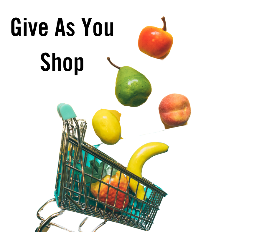 Shopping trolley, fruit and words Give as you shop